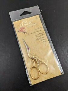 Stork Scissors Sewing Small Gold Tone Red Swarovski Crystal Rhinestone Eye