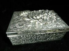 More details for art deco japanese flowers 3d antimony ?? silver coloured metal box