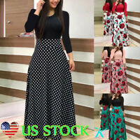 Women Long Sleeve Floral Boho Gown Ladies Party Bodycon High Waist Maxi Dress US