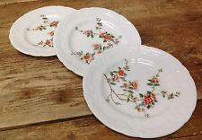 Coalport England Samarkand Asian Magnolia Floral Rim Orange 3 Bread Plates 16268