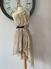 Topshop One Shoulder Waterfall Ruffle Dress UK 8