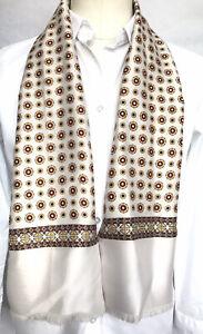 Mens Vintage Silk Style Scarf Patterned Retro Cravat Necktie Mod 60's 70's
