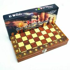 3 in 1 Wooden Chess Backgammon Checkers Folding Magnetic Chessboard Set New