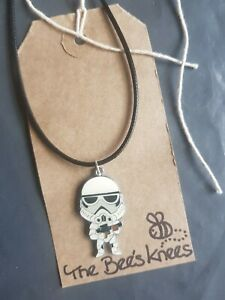 """Handmade Stormtrooper Star Wars 17"""" Necklace Leather Cord Retro Silver Plated"""