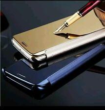 Samsung J7 prime  model mirror view flip cover - Golden colour