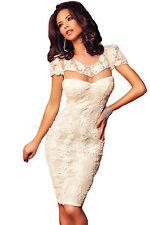 Abito ricamato Nudo Aderente Trasparente Scollo Cerimonia Lace Party Dress M