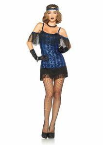 NWT Sexy Adult Blue Flapper Dress Halloween Costume Size M 8-10
