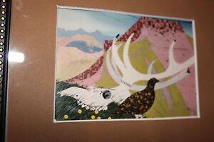 1968 charley/charles harper illustration skull and prarie chick matted framed
