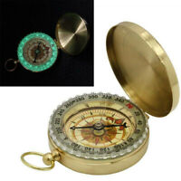 Brass Pocket Watch Style Outdoor Camping Hiking Compass Navigation Keychain Ring