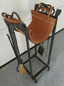Wrought Iron Fireplace Tools Set Woodstove Log Rack Firewood Carrier Leather