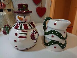 St. Andrews Royal Doulton Christmas Snowman Sugar Tree Creamer Set