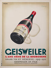RARE VINTAGE POSTER OF GEISWEILER WINE FROM BOURGOGNE BY MARTON LAJOS ci.1930