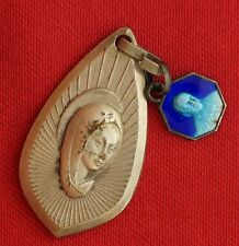 Vintage French VIRGIN MARY & SAINT MUTIEN MARIE Religious Medal Pendant Lot Of 2