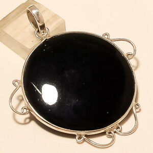 Natural Egyptian Black Onyx Agate Pendant 925 Sterling Silver Handmade Jewelry