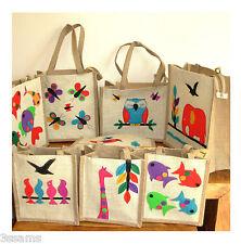 Handcrafted Patchwork Tote Hessian Jute Bag Zip Gift Lunch Shopper Beach Handbag