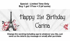 Personalised Birthday or Other Party Banner Sign French Paris Eiffel Tower Theme