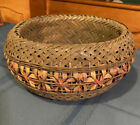 Vintage Pastel Painted Wicker Rattan Basket Green 9 Inches Round