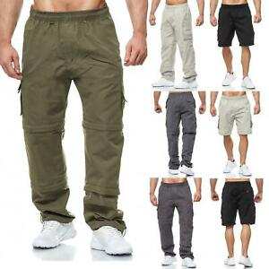 Mens Elasticated Light Zip Off Cargo Combat Trousers To Three Quarter To Shorts