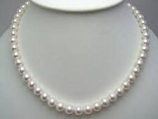 """8mm - Akoya White Shell Pearl Gold Clasp Necklace..18"""" - Gift Boxed"""