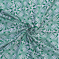 Indian Handmade Green Hand Block Sanganeri Printed Cotton Fabric Natural Dyes
