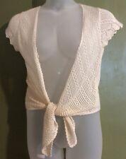 Dorothy Perkins Uk14 Eu42 Cream Crochet Shrug Cap Sleeve Tie Front