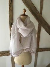100% LINEN GREY SCARF/SHAWL/WRAP WITH  CROCHET LACE TRIM.
