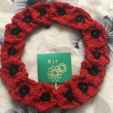 Hand Knitted Poppy Wreath