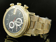 New Custom Mens 101 G Gold PVD Real 44 MM Diamond Gucci Ya101334 Watch 8.85 Ct
