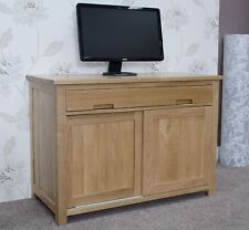 Nero solid oak furniture home office PC hideaway computer desk
