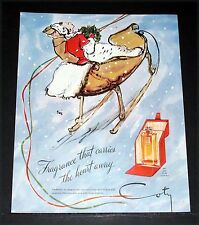 1944 OLD WWII MAGAZINE PRINT AD, COTY L'AIMANT PERFUME, CARRIES THE HEART AWAY!