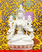 Large White Tara Tibetan Buddhist Statue Handmade from Nepal Resin 8 Inch