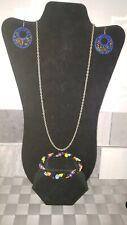 Necklace, Seed Bead Rope Bracelet Seed Bead Crochet Earrings, Silver Tone