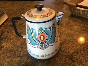 Vintage German Enamelware Enamel Coffee Pot/Teapot Graniteware unique