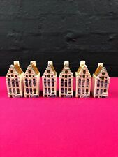 Lot of 6 Handpainted Blue Delft Dutch Houses In Amsterdam BOLS KLM type Holland