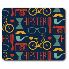 Computer Mouse Mat - Hipster Mustache Bike Pattern Office Gift #14255