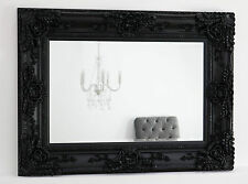 "Ella Black Ornate Rectangle Vintage Wall Mirror 53"" x 43"" XX Large"