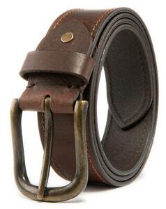 Men's Top Grain Leather Belts Casual Jeans Solid Belts for Men 1.5inch Width