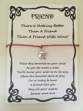 WISH BRACELET FRIEND BEST FRIEND WINE QUOTE GIFT CARD VARIOUS COLOURS CHARMS