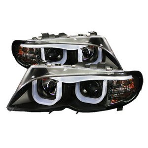 BMW 02-05 E46 3-Series 4DR Sedan Black Neon Tube Projector Headlights 325i 330i