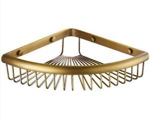 Wall Mounted Antique Bath Brass Shower Caddy Basket Triangle Storage Shelves