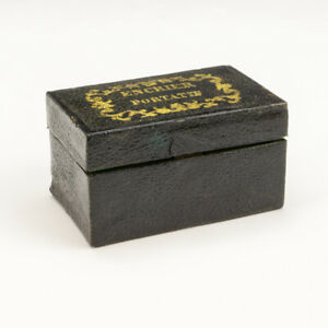 Antique Black Tooled Leather - Travel Inkwell With Ink Pen, Bottle & Pouncer