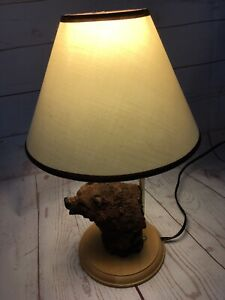 Brown Bear Bust Table Top Lamp with Shade Wildlife Wooden Base Gold Tone Light