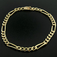 "Men's 14k Yellow Gold 8.25"" 4.6mm Figaro Link Chain Bracelet w/ Box Clasp 10.78g"