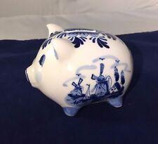 "Blue Dutch Delft's Piggy Bank - Coin Bank - 4.5""L"