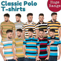 Mens Striped T-shirt Tee Shirts Short Sleeve Polo Cotton Rich Buttons Stripes UK