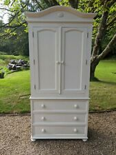 More details for armoire wardrobe ideal children's bedroom shabby chic painted in f&b new white
