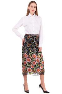 RRP €360 ALICE + OLIVIA Midi Straight Skirt Size 0 / XS Silk Blend Devore Floral