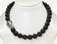Wunderschöne Halskette aus Edelsteinen Lava mit Tibet-Silber-Fisch-Perlen