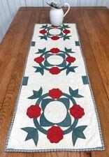 Red Green c 1870-80s Album APPLIQUE   Antique Table Quilt RUNNER 46 x 16