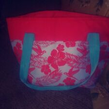 IGLOO INSULATED LARGE SHOPPING, BEACH/TRAVEL/MULTIUSE BAG, RED & SOFT BLUE GRAY